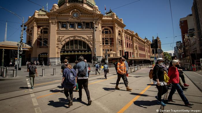 People return to the city on October 28, 2020 in Melbourne, Australia