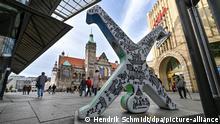 Deutschland Chemnitz | Skulptur des Radschlägers