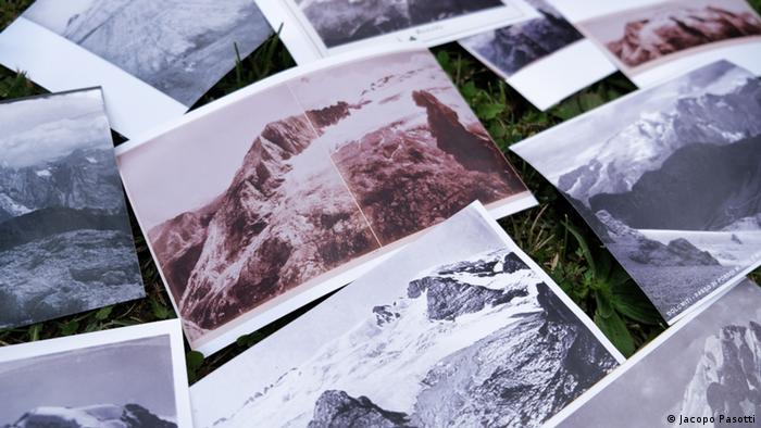 Historical photographs of mountain glaciers