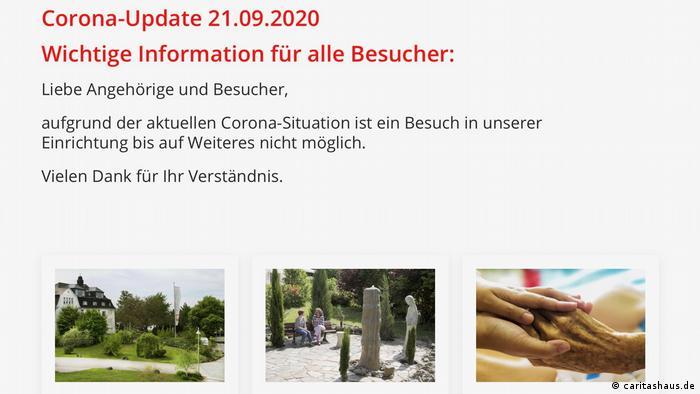 Screenshot der Website des Pflegeheims St. Elisabeth in Koblenz mit einem Corona-Update aus dem September: Besuche sind vorübergehend nicht möglich. Drei kleine Bilder zeigen das Pflegeheim, alte Menschen im Park und junge Hände, die alte Hände halten