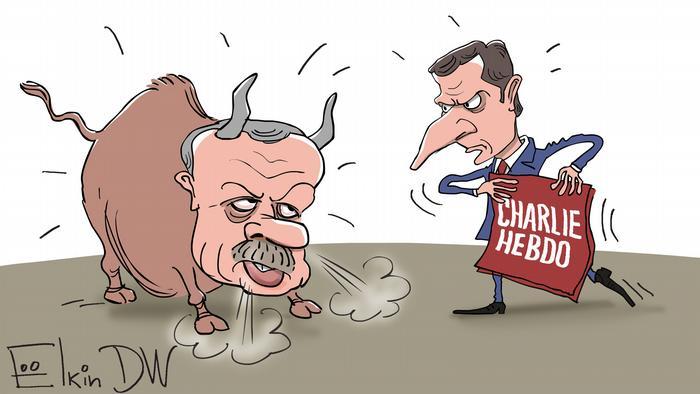Эрдоган в виде быка, а Макрон - тореадора, который держит в руках красный плакат с надписью Charlie Hebdo