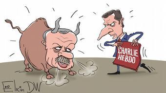 Ερντογάν εναντίον Μακρόν (γελοιογραφία του Σεργκέι Ελκίν)