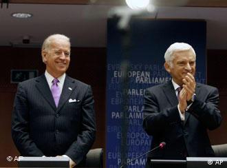 Joe Biden with European Parliament President Jerzy Buzek in Brussels in May