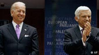 US Vice President Joe Biden and European Parliament President Jerzy Buzek at the European Parliament in Brussels, May 6, 2010