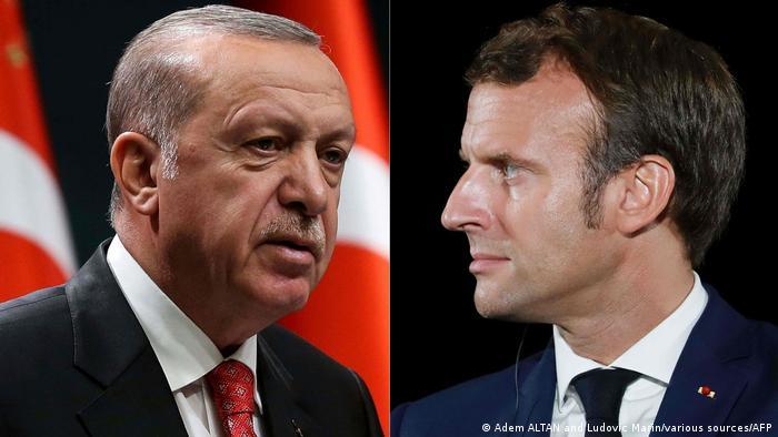 Recep Tayyip Erdogan and Emmanuel Macron side by side