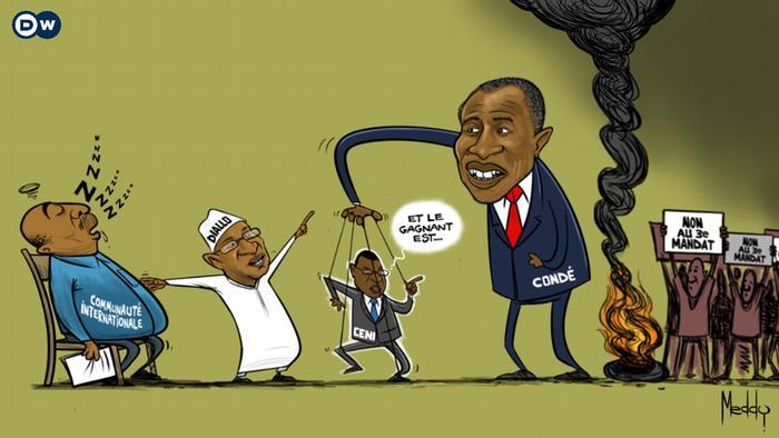 Caricature de Meddy Jumanne pour la présidentielle en Guinée