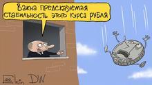Karikatur von Sergey Elkin | Putin über Rubelkurs
