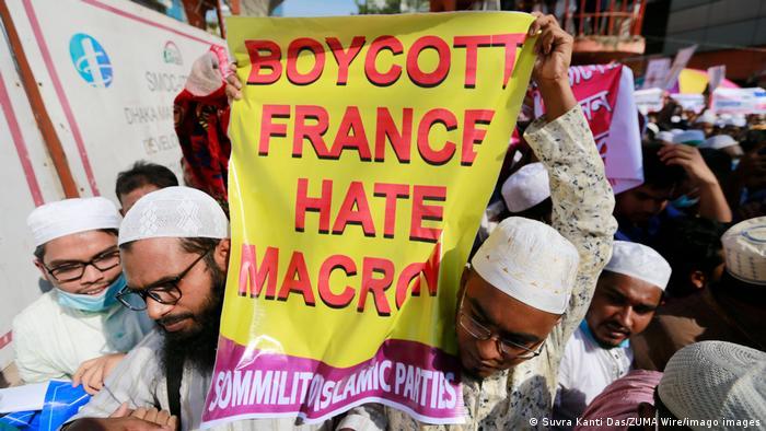 Bangladesch | Religion | Protest gegen Präsident Macron (Suvra Kanti Das/ZUMA Wire/imago images)