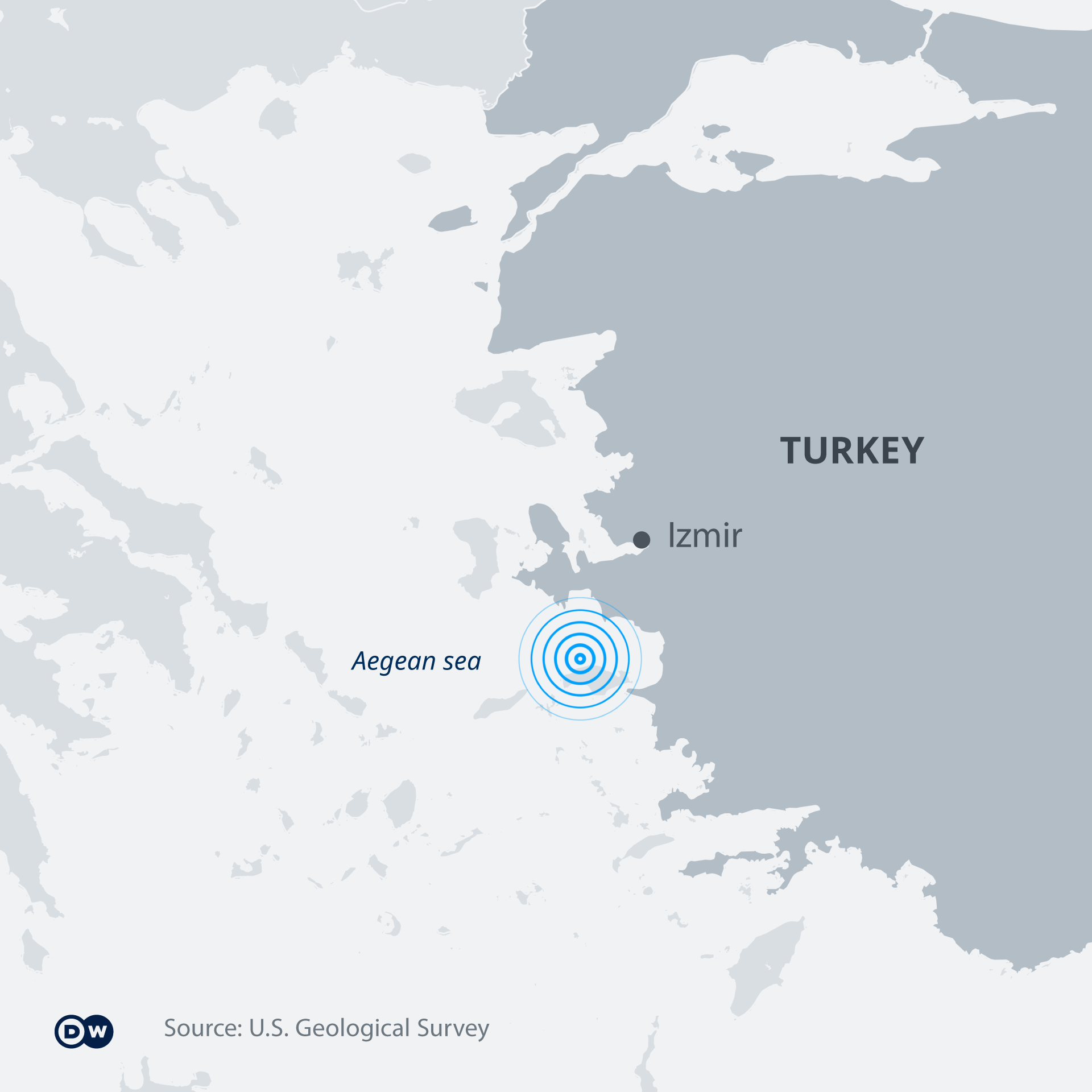 Map of the Aegean sea earthquake