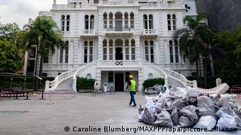 The facade of the Sursock Museum with bags of debris piled up outside of it