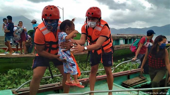 Rescue workers in the Philippines