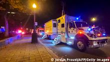 01.11.2020 A Police truck is parked near the National Assembly of Quebec, in Quebec City, early on November 1, 2020, after two people were killed and five wounded by a sword-wielding suspect dressed in medieval clothing. - The suspect, a man in his mid-20s, was armed with a sword and dressed in medieval clothing, Quebec City police spokesman Etienne Doyon said during a press briefing. The man, who was not identified, was arrested shortly before 1:00 am and had been transported to hospital for evaluation, he said. (Photo by Jordan PROUST / AFP) (Photo by JORDAN PROUST/AFP via Getty Images)