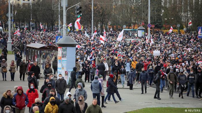 Участники акции протеста в Минске 1 ноября