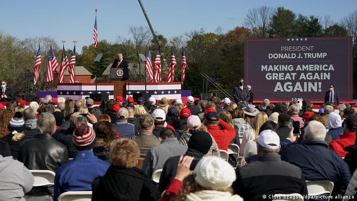 Trump addresses a campaign rally in Newtown, Michigan