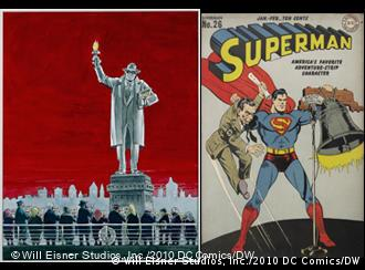 Comic illustrations of The Spirit and the Immigrants by Will Eisner, and Superman