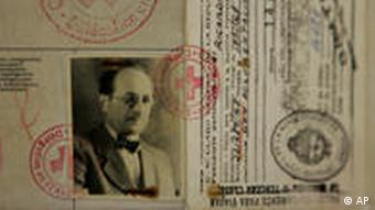The aging cardboard passport used by Adolf Eichmann