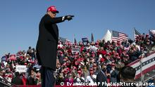 President Donald Trump walks off after speaking during a campaign rally at Fayetteville Regional Airport, Monday, Nov. 2, 2020, in Fayetteville, N.C. (AP Photo/Evan Vucci) |