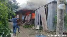 *** Bitte nur in Zusammenhang mit der Berichterstattung verwe3nden *** More than 10 Hindu households were vandalized and torched in Comilla, Bangladesh after a man reportedly showed support for France defending cartoons depicting the Prophet Mohammed (pbuh) on Facebook. via Mohammad Zahidul Haque