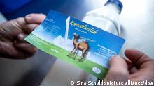 28.10.2020, Niedersachsen, Visselhövede: Ein Etikett wird auf eine Flasche mit Kamelmilch geklebt. Familie Marquard betreibt eine Kamelfarm am Rande der Lüneburger Heide. Die Wüstenschiffe sind bei Urlaubern als Reittiere beliebt, der Hof produziert aber auch begehrte Kamelmilch. Foto: Sina Schuldt/dpa +++ dpa-Bildfunk +++ | Verwendung weltweit