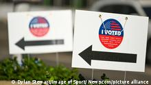 """Signs read """"I Voted"""" outside the STAPLES Center the day before the election, Monday, Nov. 2, 2020, in Los Angeles. (Dylan Stewart/Image of Sport) Photo via Newscom picture alliance  """