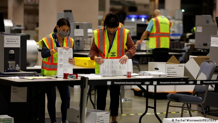 Votes are counted at the Pennsylvania Convention Center on Election Day in Philadelphia, Pennsylvania