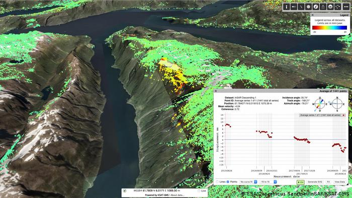Sentinel-1 data show land surface changes. A computer generated image shows three fjords with dark blue water and greyish brown treeless looking mountains. Bright colored dots highlight areas of erosion and look like snow on the mountain tops. Most of the colored dots are green, though some yellow and a small amount of red, blue and purple are also visible.