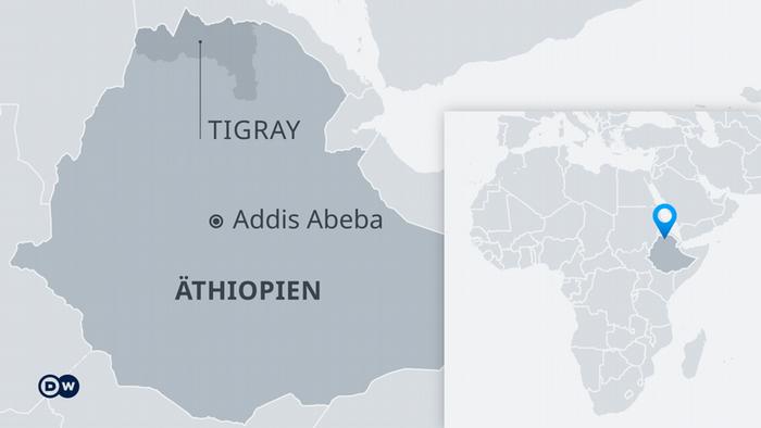 Karte von Äthiopien mit der Region Tigray