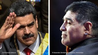 Bildkombo Nicolas Maduro und Diego Maradona