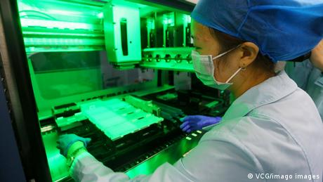 Laboratory work in a research center in Lanzhou, China