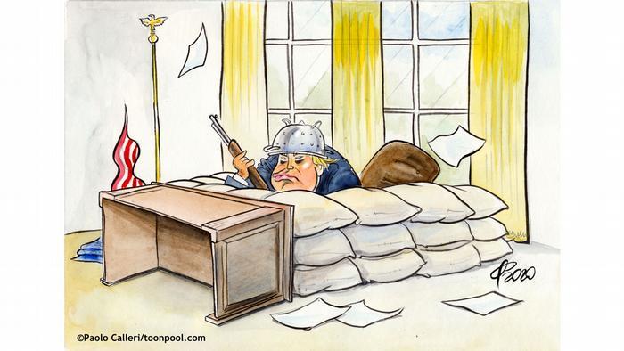 Donald Trump mit Gewehr hat sich hinter seinem Schreibtisch und Sandsäcken verschanzt (@PaoloCalleri/Cartoon)