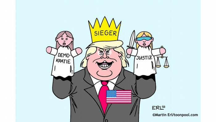 Trump hat eine Krone mit der Aufschrift Sieger auf dem Kopf und hält zwei Marionetten in der Hand, Demokratie und Justiz (@Erl/Cartoon Toonpool)