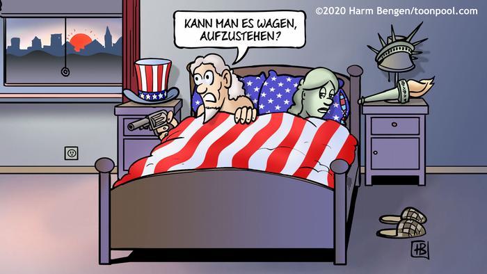 Uncle Sam und die Freiheitsstatue liegen im Bett, Sam hat einen Revolver in der Hand und fragt: Kann man es wagen aufzustehen? (HarmBengen@Cartoon Toonpool)