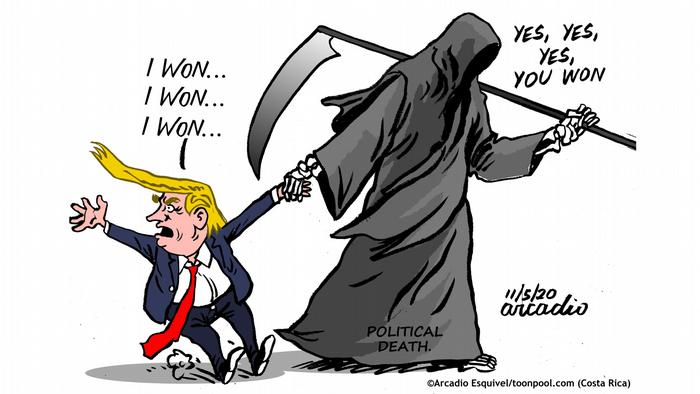 Malaikat maut politik menyeret Trump untuk pergi dari panggung politik Cartoon Toonpool | Political death