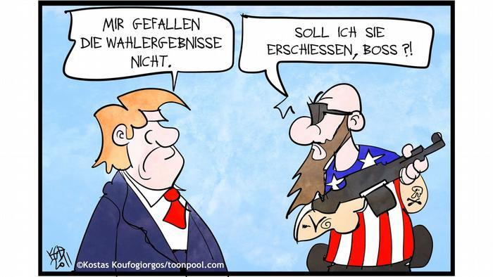 Trump sagt zu einem bewaffneten Mann: Mir gefallen dei Wahlergebnisse nicht. Der antwortet: Soll ich sie erschiessen, Boss?(@Kostas Koufogiorgios/Cartoon Toonpool)