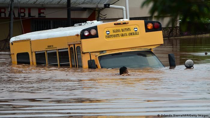 A flooded bus in Honduras