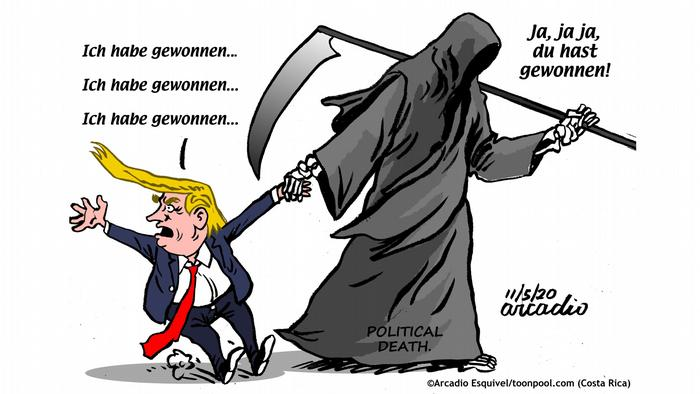 Der Sensenmann hat Trump an der Hand und zieht ihn fort. Der ruft: Ich habe gewonnen. Der Tod antwortet: Ja, ja, du hast gewonnen (@Arcadio Esquivel/Cartoon Toonpool)