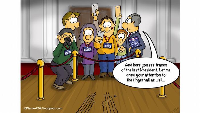 Turis yang mengunjungi Gedung Putih mengabadikan goresan kuku dilantai, sepertinya seseorang merasa berat untuk mengucapkan selamat tinggal. Cartoon Toonpool | Trennungsschmerz | English