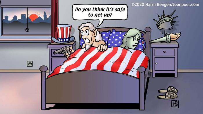 Paman Sam dan Lady Liberty di atas tempat tidur, masih belum percaya pemilu telah benar-benar berakhir