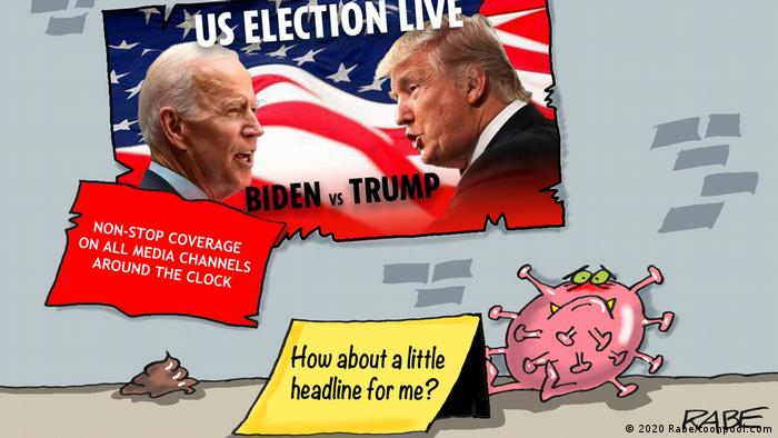 Virus corona yang merasa terlupakan karena panasnya Pemilu AS (2020 Rabe/toonpool.com)