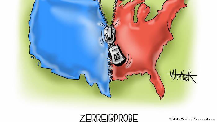 Die Landkarte der USA ist in Rot und Blau durch einen Reißverschluss getrennt @Mirco Tomicek/ Cartoon Toonpool)
