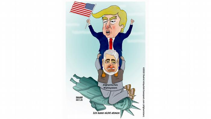 Trump kniet auf einem Mann, auf dem afghanisches Wahlsystem steht; der wiederum kniet auf der Freiheitsstaue die sagt. Ich kann nicht atmen (Shahid Atiq/Cartoon Toonpool)