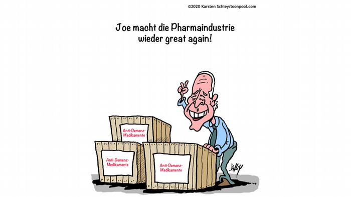 Joe Biden steht vor Kisten mit Demenzmedikamenten, darüber steht: Joe macht die Pharmaindustrie great again (@Karsten/Cartoon Toonpools)