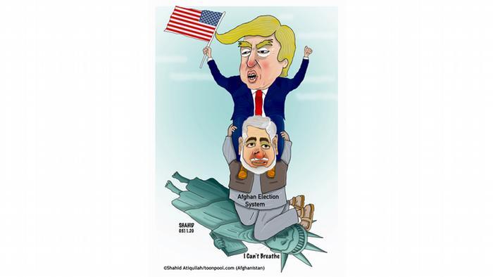 Patung Liberty terbaring dengan leher ditekan lutut seperti yang dialami George Floyd. Cartoon Toonpool | Trump vs Biden | ENG