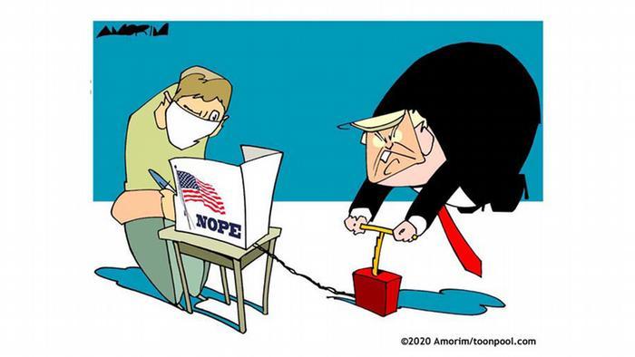 Trumpo versucht, einen Auszähler von Stimmen in die Luft zu jagen (@Amorim/Cartoon toonpool)
