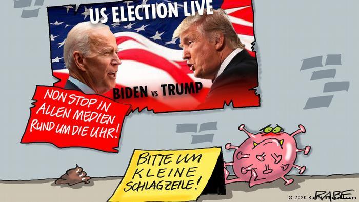 Wahlplakate, davor sitzt ein Coronavirus: Bitte um kleinr Schlagzeilr (Rabe/toonpool.com)