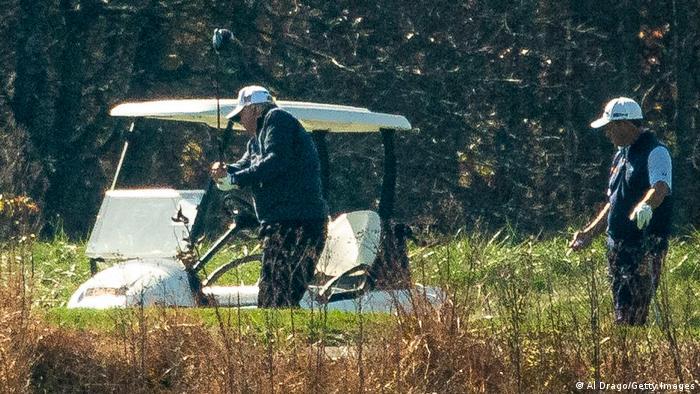 Donald Trump em seu clube de golfe em Sterling, na Virgínia