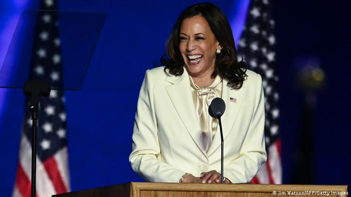 Vice-president-elect Kamala Harris gives her victory speech in Wilmington, Delaware (Jim Watson/AFP/Getty Images)