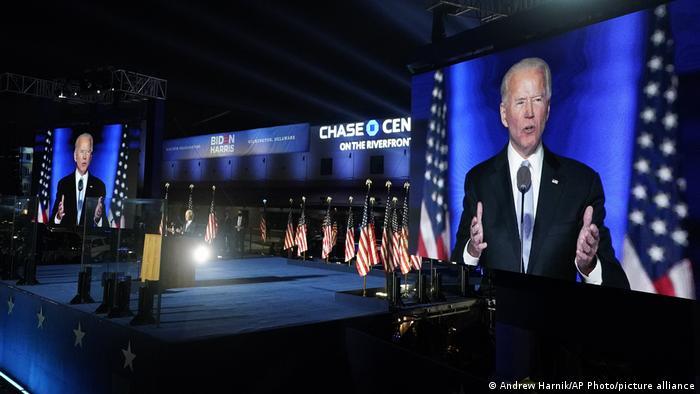 Joe Biden gives his victory speech in Wilmington, Delaware (Andrew Harnik/AP Photo/picture alliance)