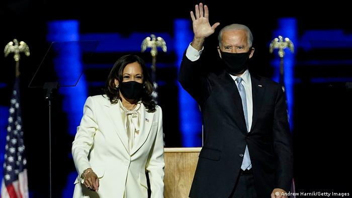Kamala Harris e Joe Biden comemoram resultado das eleições norte-americanas