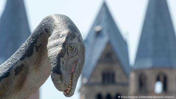 A model of a Plateosaurus stands in Halberstadt, Germany in 2018